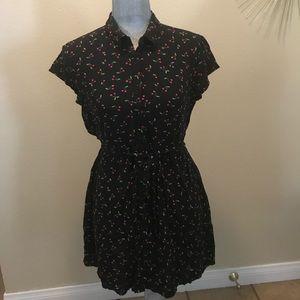H&M Cherry Print Black Mini Button Up Shirt Dress